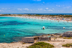 Formentera balearic island view from sea of the west coast Stock Images