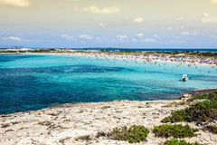 Formentera balearic island view from sea of the west coast Stock Photo