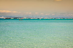 Formentera balearic island view from sea of the west coast Royalty Free Stock Photography
