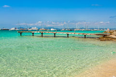 Formentera balearic island view from sea of the west coast Royalty Free Stock Image