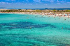 Formentera balearic island view from sea of the west coast.  Royalty Free Stock Photos