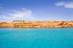 Formentera Balearic Island von der Seewestküste Stockbild