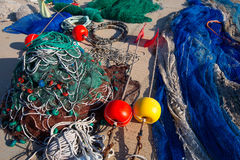 Formentera Balearic Islands fishing tackle nets longliner Stock Photos