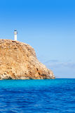 Formentera Barbaria cape Lighthouse view from sea Stock Image