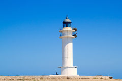 Formentera Barbria Lighthouse in blue sky Stock Photography