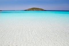 Formentera beach illetas white sand. Formentera beach illetas a white sand with turquoise water perfect Balearic paradise Stock Photography