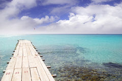 Formentera beach wood pier turquoise balearic sea Stock Photography