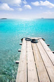 Formentera beach wood pier turquoise balearic sea Royalty Free Stock Photos