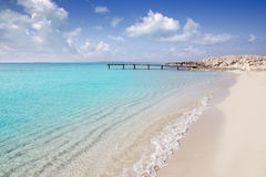 Formentera beach wood pier turquoise balearic sea Stock Image