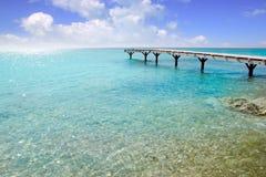 Formentera beach wood pier turquoise balearic sea Stock Photos