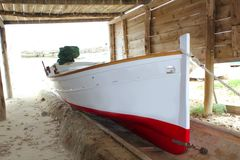 Formentera boat stranded on wooden rails Stock Photography