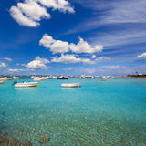 Formentera boats at Estany des Peix lake Stock Photo