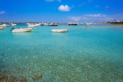 Formentera boats at Estany des Peix lake Royalty Free Stock Photo