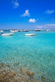 Formentera boats at Estany des Peix lake Royalty Free Stock Photography