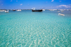 Formentera boats at Estany des Peix lake Royalty Free Stock Photos