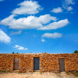 Formentera Cala Saona beach masonry fishermen houses Stock Photo