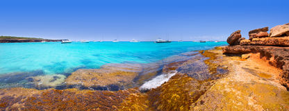 Formentera Cala Saona panoramiczne plażowe Balearic wyspy Obrazy Royalty Free