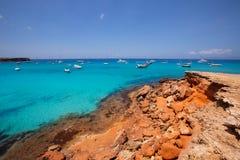 Formentera Cala Saona plażowe Balearic wyspy Fotografia Royalty Free