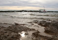 Formentera eilandshoreside tijdens de winter Royalty-vrije Stock Foto's