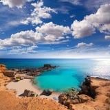 Formentera ES Calo des Mort τυρκουάζ Μεσόγειος παραλιών Στοκ Φωτογραφία
