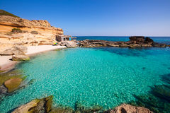 Formentera Es Calo des Mort beach turquoise Mediterranean. At Mitjorn of balearic islands Royalty Free Stock Images