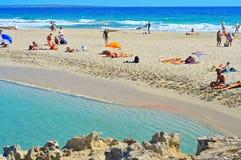 Plage de Ses Illetes à Formentera, Îles Baléares, Espagne Image libre de droits