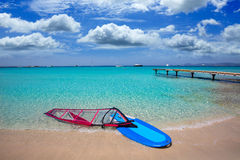 Formentera ibiza ses Illetes beach with wind surf Royalty Free Stock Image