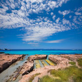 Formentera Illetes channel to Estany Pudent Stock Images