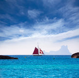 Formentera from Illetes view es Vedra Ibiza and sailboat Royalty Free Stock Photography