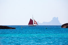 Formentera from Illetes view es Vedra Ibiza and sailboat Royalty Free Stock Image
