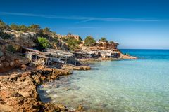 Formentera island. Cala Saona bay beach. Formentera island. Balearic islands, Spain Royalty Free Stock Photos
