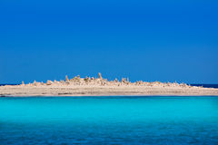 Formentera island Illetes Illetas with stone sculptures Royalty Free Stock Photography
