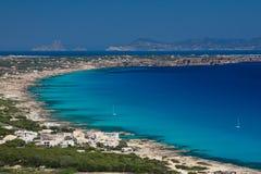 Formentera-Küste und Strände Stockbilder