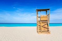 Formentera Llevant beach lifeguard house Stock Images