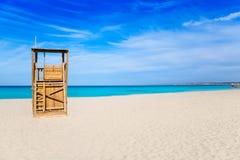 Formentera Llevant het huis van de strandbadmeester stock afbeelding