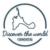 Formentera mapy kontur Rocznik Odkrywa ilustracja wektor