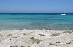 Formentera near eivissa. View of the salines coast in formentera, famous for its crystal blue water stock photo