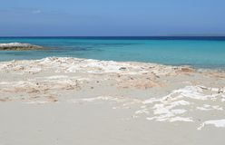Formentera island near ibiza. View of the salines coast in formentera, famous for its crystal blue water stock photos