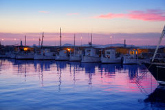 Formentera pink sunset in port marina Royalty Free Stock Photography