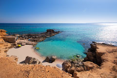 Formentera S Calo des Mort strand turkoois Middellandse-Zeegebied royalty-vrije stock foto