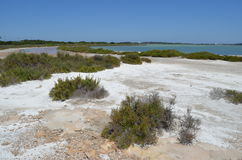Formentera salinas natural park near eivissa. View of the salines coast in formentera, famous for its crystal blue water and salt natural park royalty free stock photography