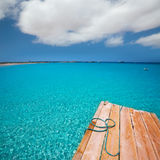 Formentera Ses Illetes beach pier Illetas and Ibiza Stock Photos