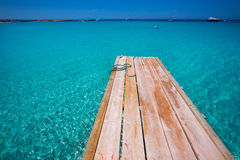 Formentera Ses Illetes beach pier Illetas and Ibiza Royalty Free Stock Images