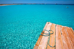 Formentera Ses Illetes beach pier Illetas and Ibiza Stock Photography