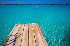 Formentera Ses Illetes beach pier Illetas and Ibiza Stock Photo