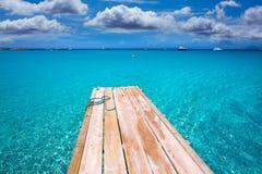 Formentera Ses Illetes plaży molo Illetas i Ibiza Zdjęcia Royalty Free