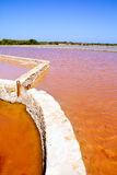Formentera Ses Salines saltworks red water Royalty Free Stock Photo