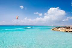 Formentera strand turkoois paradijs Stock Afbeeldingen