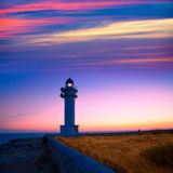 Formentera sunset in Barbaria cape lighthouse Stock Images