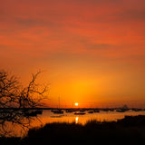 Formentera sunset in Estany des Peix with Ibiza Es vedra Royalty Free Stock Photos